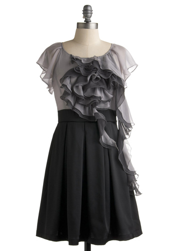 Monochrome Butterfly Dress by Ryu - Black, Grey, Ruffles, Twofer, Short Sleeves, Solid, Pleats, Wedding, Party, Fall, Mid-length