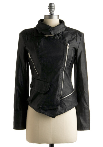 A Nosh in Nolita Jacket - Black, Solid, Exposed zipper, Long Sleeve, Spring, Fall, Short, 2