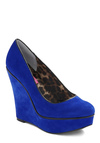 Betsey Johnson Shoe Velvet Wedge by Betsey Johnson - Blue, Solid, Black, Party, Fall, Winter, Wedge