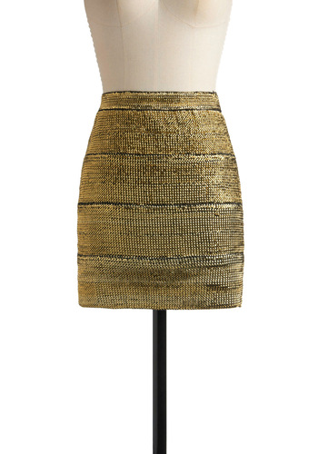 Shimmer Sparkle Skirt in Gold - Gold, Solid, Party, Summer, Fall, Winter, Short, 80s