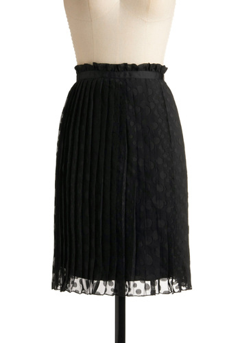 Pleat Me For Dinner Skirt - Black, Solid, Polka Dots, Pleats, Party, Work, Mid-length