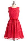 Looking Like Vermillion Bucks Dress - Red, Solid, Lace, Wedding, Party, A-line, Sleeveless, Special Occasion, Prom, Mid-length, Fit & Flare