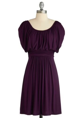 Designer of the Times Dress - Purple, Solid, Casual, A-line, Short Sleeves, Spring, Summer, Fall, Mid-length