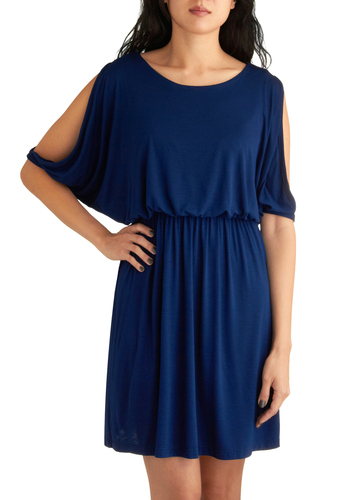 Museum Tour Dress in Navy - Blue, Solid, Casual, A-line, Short Sleeves, Summer, Short, Top Rated