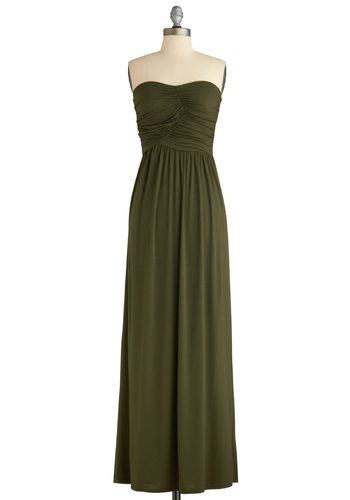 Always and For Evergreen Dress in Moss - Green, Solid, Maxi, Strapless, Summer, Casual, Long, Boho, Jersey, Sweetheart, Tis the Season Sale, Basic, Fall, Top Rated, Gifts Sale