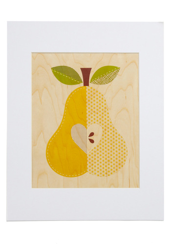 Amour-chard Print in Pear - Yellow, Tan, Green, Brown, Fruits, Dorm Decor