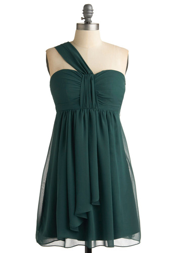 Pining for a Party Dress - Green, Solid, Ruffles, Wedding, Party, Empire, One Shoulder, Spring, Fall, Mid-length