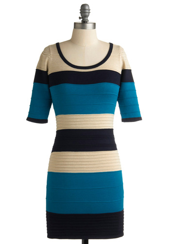 We Got the Beach Dress - Blue, Stripes, Party, Mini, Short Sleeves, Short, Tan / Cream, Black, Sweater Dress, Girls Night Out, Bodycon / Bandage, Colorblocking