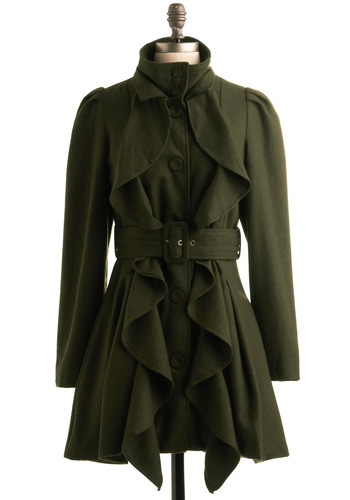 Tree-lined Streets Coat by Ryu - Brown, Solid, Buckles, Buttons, Pleats, Ruffles, Long Sleeve, Party, Work, Casual, Fall, Winter, Long, Military, 2