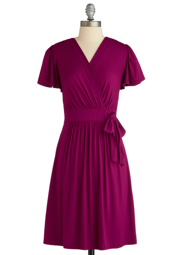 The Fuchsia of Fashion Dress - Purple, Solid, Bows, Ruffles, Casual, Wrap, Short Sleeves, Mid-length, Jersey, Holiday Sale, V Neck