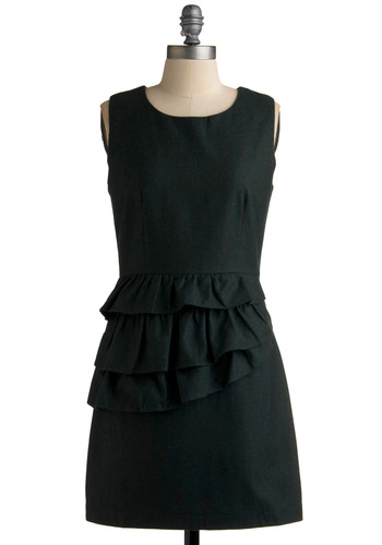 Classy Coniferous Dress - Black, Solid, Ruffles, Tiered, Wedding, Party, Casual, Shift, Sleeveless, Fall, Short