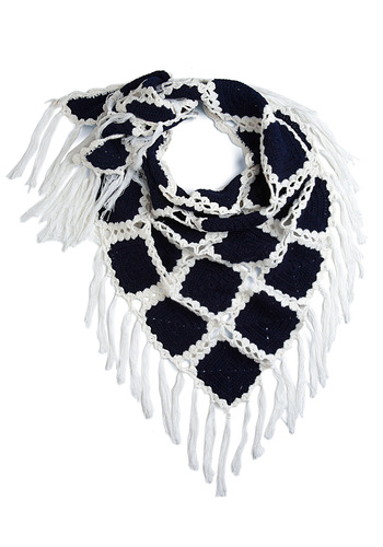 Love in Every Stitch Scarf - Blue, White, Solid, Knitted, Fall, Winter, Boho, 60s, 70s