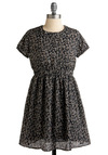 A Thought Is the Blossom Dress - Brown, Tan / Cream, Floral, Casual, A-line, Black, Polka Dots, Empire, Cap Sleeves, Print, Short