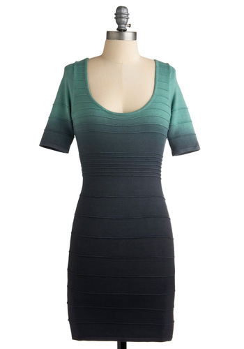 Ombre Goodness Dress in Dusk - Tie Dye, Sheath / Shift, 3/4 Sleeve, Short, Cutout, Grey, Party, Green, Backless