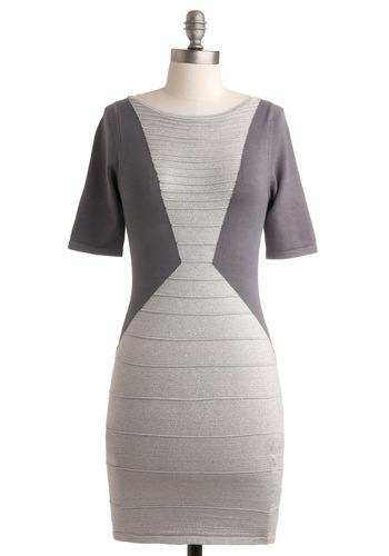 The Zenith Dress - Grey, Cutout, Party, Casual, Shift, 3/4 Sleeve, 80s, Fall, Backless, Short
