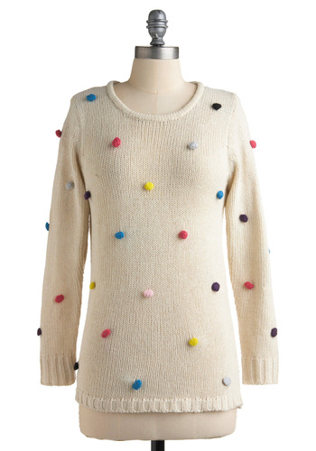 Takes the Birthday Cake Sweater - Cream, Multi, Poms, Casual, 80s, Long Sleeve, Fall, Winter, Mid-length, White, Knitted