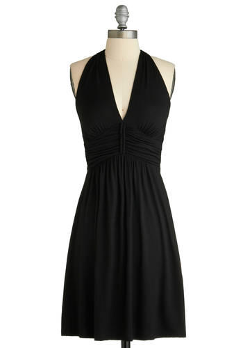 Fiddle Black Dress - Black, Solid, Braided, Wedding, Party, A-line, Halter, Spring, Summer, Mid-length
