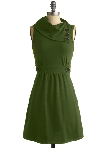 Coach Tour Dress in Vert - Green, Solid, Buttons, A-line, Sleeveless, Work, Casual, Spring, Fall, Mid-length