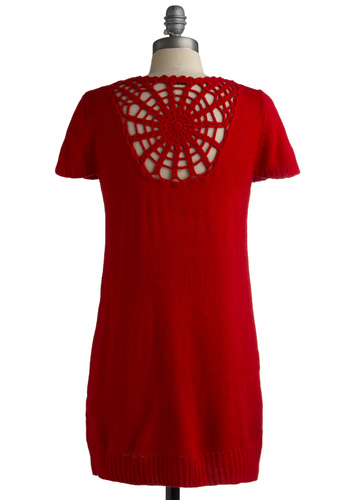 Dome Alone Tunic - Red, Solid, Knitted, Shift, Short Sleeves, Casual, Long