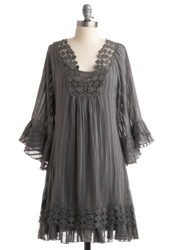 Where There's Smoke Dress - Grey, Floral, Lace, Sack, 3/4 Sleeve, Casual, Boho, Spring, Fall, Mid-length
