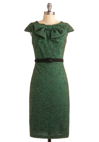 Master Mixologist Dress by Eva Franco - Green, Solid, Bows, Sheath / Shift, Cap Sleeves, Work, Vintage Inspired, 60s, Spring, Fall, Winter, Long