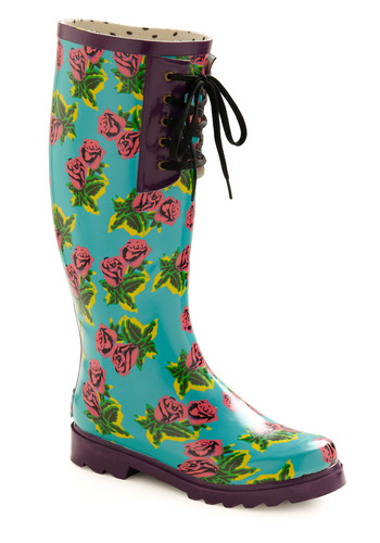 Betsey Johnson Bouquet of Showers Boot by Betsey Johnson - Blue, Pink, Floral, Work, Casual, Spring, Fall, Low