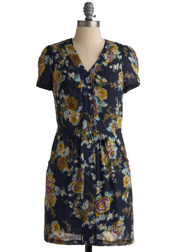 Floral Fanfare Dress - Purple, Tan / Cream, Floral, Sheath / Shift, Short Sleeves, Work, Casual, Multi, Blue, Mid-length