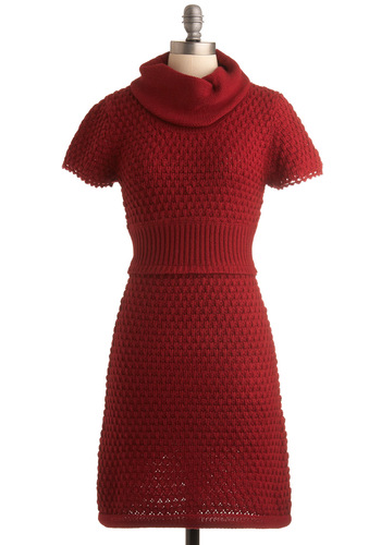 All the Sweater Dress by Tulle Clothing - Red, Solid, Knitted, Shift, Short Sleeves, Casual, Fall, Sweater Dress, Mid-length