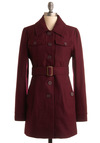 Burgundy Wine Coat by Tulle Clothing - Red, Solid, Long Sleeve, Work, Casual, Fall, Winter, Long, 3