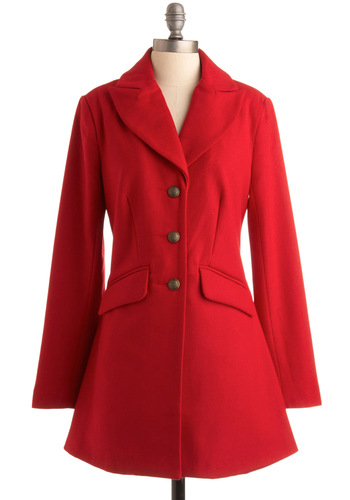 Red It in the Paper Coat - Red, Solid, Buttons, Long Sleeve, Party, Work, Fall, Winter, Long, 3