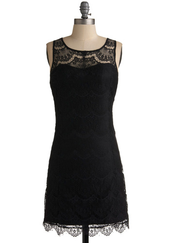 Heiress of Mystery Dress - Black, Lace, Shift, Sleeveless, Special Occasion, Wedding, Party, Scallops, Backless, Mid-length, Vintage Inspired, 20s, 30s, Solid