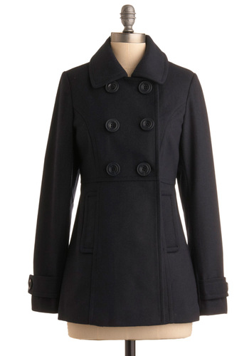 Peas in a Pod Coat in Navy - Blue, Solid, Long Sleeve, Party, Casual, Nautical, Fall, Winter, Mid-length, 3