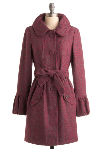 Wish I May, Wish I Bright Coat - Pink, Grey, Herringbone, Long Sleeve, Party, Work, Fall, Winter, Long, 3