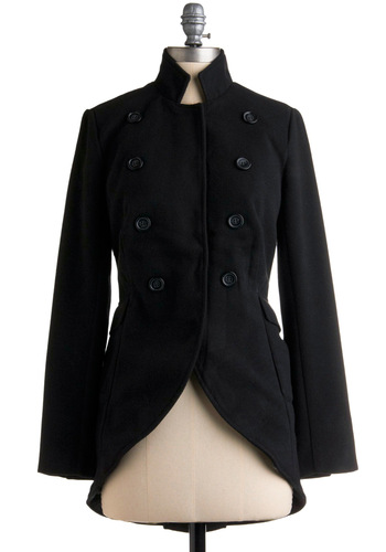 High-Ranking Style Coat - Black, Solid, Buttons, Long Sleeve, Work, Casual, Military, Fall, Winter, Vintage Inspired, 20s, Long, 2.5