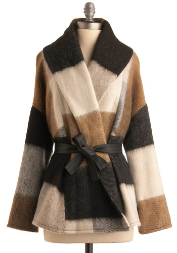 Prairie Hideaway Coat by BB Dakota - Long Sleeve, Stripes, Fall, Winter, Mid-length, Plaid, Multi, Tan / Cream, Black, Grey, 3