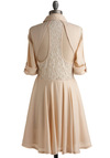 Foam Design Dress - Cream, White, Cutout, Lace, Casual, A-line, 3/4 Sleeve, Spring, Show On Featured Sale, Mid-length, Sheer, Button Down, Collared, Fit & Flare