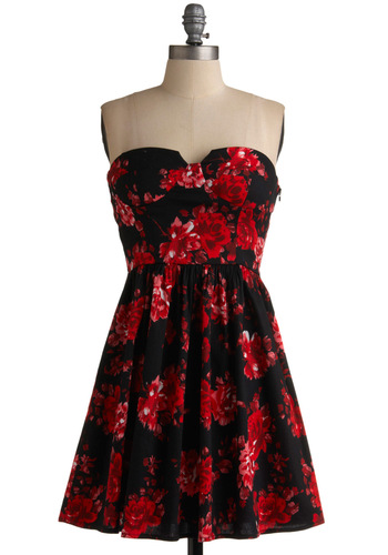 Petals at Your Pleat Dress - Floral, A-line, Spaghetti Straps, Wedding, Party, Strapless, Spring, Summer, Red, Black, Show On Featured Sale, Show On Featured Sale, Mid-length