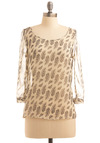 Sooner or Lighter Top - Cream, Brown, Black, Print, 3/4 Sleeve, Work, Casual, Spring, Summer, Fall, Mid-length