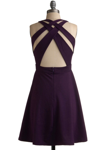 Basket for More Dress - Purple, Solid, Cutout, Wedding, Party, A-line, Sleeveless, Spring, Summer, Fall, Backless, Mid-length