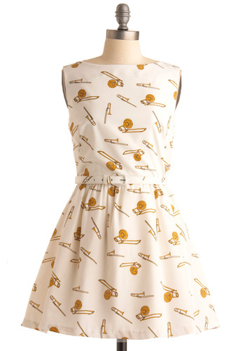 Rachel Antonoff First in Brass Dress by Rachel Antonoff - White, Novelty Print, Party, Vintage Inspired, A-line, Sleeveless, Spring, Summer, Fall, Gold, Short