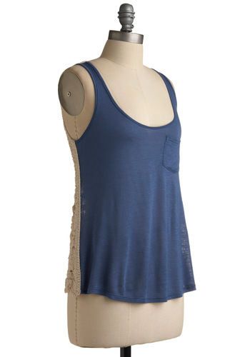 On the Flip Side Top - Blue, Cream, Crochet, Pockets, Casual, Tank top (2 thick straps), Spring, Summer, Mid-length, Boho