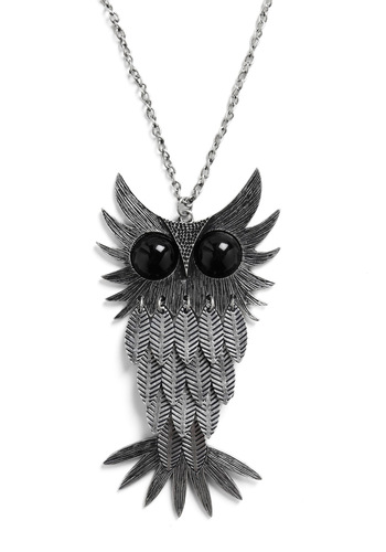 No Matter the Feather Necklace - Silver, Casual, Owls