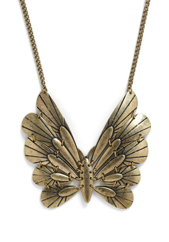 Day and Flight Necklace - Gold, Party, Casual, Spring, Summer, Fall, Boho, Vintage Inspired, 70s