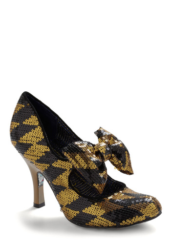 Striking Beauty Heel by Irregular Choice - Bows, Party, Fall, Winter, Gold, Sequins, Black