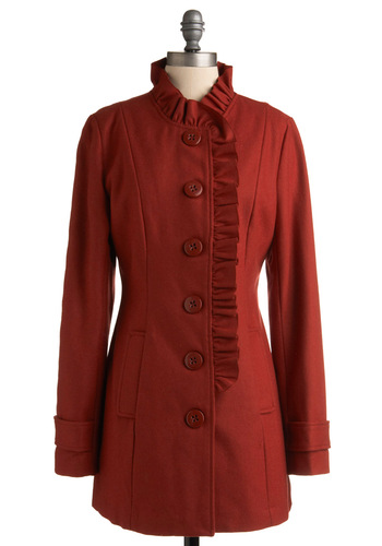 Yes I Cayenne Coat by Tulle Clothing - Red, Solid, Ruffles, Long Sleeve, Party, Work, Casual, Fall, Winter, Long