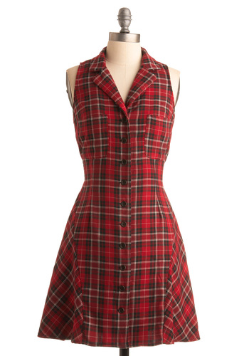 Fancy Camping Dress - Red, Black, White, Plaid, Pockets, Casual, A-line, Halter, Fall, Mid-length