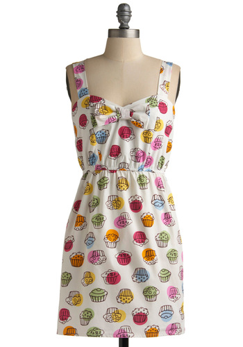 Baked with Love Dress - Multi, Print, A-line, Tank top (2 thick straps), Party, Casual, Handmade & DIY, Spring, Summer, Red, Orange, Yellow, Green, Blue, White, Short