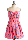 Rainbow Sure-Bet Dress - Pink, Bows, A-line, Strapless, Multi, Polka Dots, Novelty Print, Party, Casual, Spring, Summer, Fall, Mid-length
