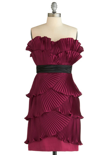 Fanfare for the Uncommon Girl Dress by Max and Cleo - Red, Solid, Pleats, Tiered, Sheath / Shift, Spaghetti Straps, Formal, Prom, Wedding, Party, Luxe, 20s, Short