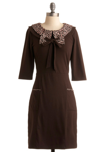 Down Memory Grain Dress - Brown, Pink, Solid, Bows, Peter Pan Collar, Pockets, Work, Casual, Sheath / Shift, 3/4 Sleeve, Fall, Mid-length